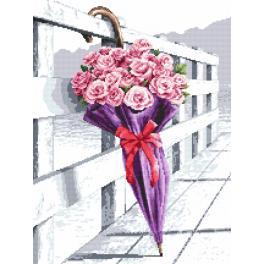 K 10210 Kanwa z nadrukiem - Parasol kwitnących róż