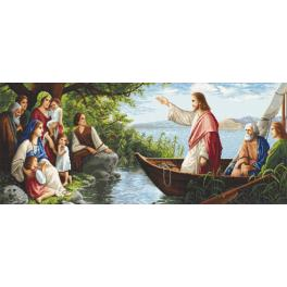 Zestaw z nadrukiem i muliną - Słuchając Jezusa
