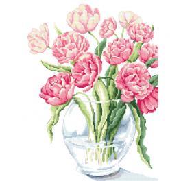 ZN 10260 Zestaw z nadrukiem i muliną - Bajeczne tulipany