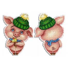 Zestaw z muliną - Zawieszka - Zimowa świnka