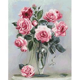 WD2454 Zestaw do diamond painting - Róże na marmurowym stoliku