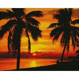 Zestaw do diamond painting - Palmy o zachodzie słońca