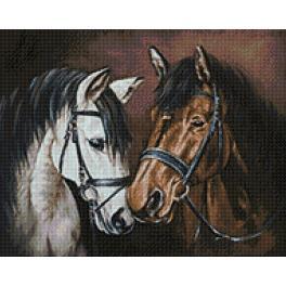 WD2469 Zestaw do diamond painting - Delikatność koni