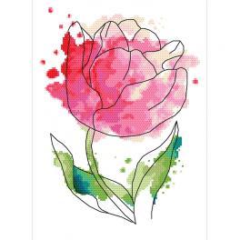 ZN 10266 Zestaw z nadrukiem i muliną - Akwarelowy tulipan