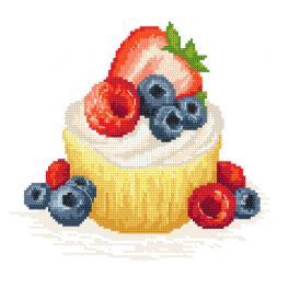 ZN 10421 Zestaw do haftu z nadrukiem - Ciasteczko z owocami