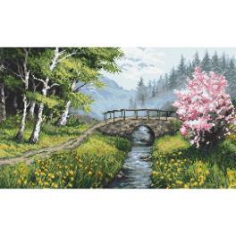 Zestaw do haftu z nadrukiem - Wiosenny pejzaż