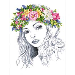 Aida z nadrukiem - Wiosenna pani