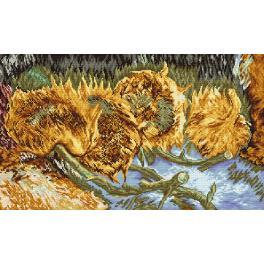Zestaw z nadrukiem i muliną - Cztery ścięte słoneczniki - V. Van Gogh
