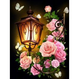 M AZ-1721 Zestaw do diamond painting - Latarnia z różami
