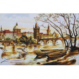 Zestaw z muliną i podmalowanym tłem - Praga. Most Karola