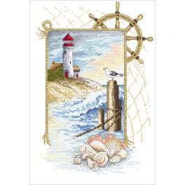 Zestaw z nadrukiem i muliną - Morskie marzenia