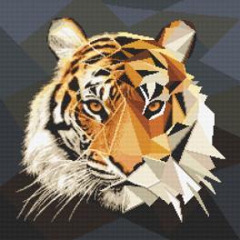Kanwa z nadrukiem - Mozaikowy tygrys