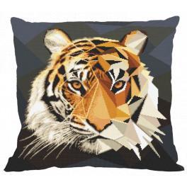 Zestaw z muliną i poszewką - Poduszka - Mozaikowy tygrys