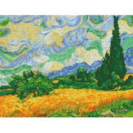 DD9.024 Zestaw do diamond painting - Pole pszenicy z cyprysami - V. van Gogh