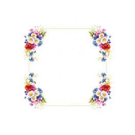 Zestaw z muliną i obrusem - Obrus z polnymi kwiatkami