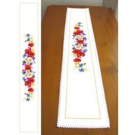 ZU 10434 Zestaw do haftu - Długi bieżnik z polnymi kwiatkami