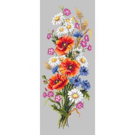 Zestaw z muliną i koralikami - Wiązanka polnych kwiatów