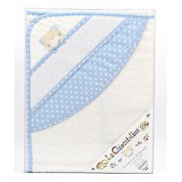 Ręcznik kąpielowy z kapturkiem 75x75 cm biało-niebieski