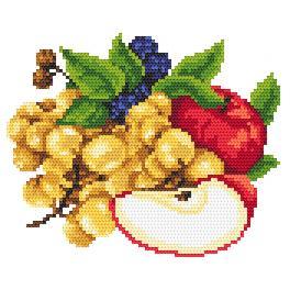 K 8261 Kanwa z nadrukiem - Jabłka z winogronami