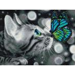 Zestaw do diamond painting - Kot bengalski i motylek