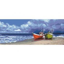 Wzór graficzny - Kutry nad morzem