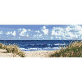 Zestaw z nadrukiem i muliną - Morska plaża