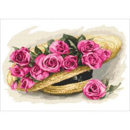 Zestaw z nadrukiem i muliną - Bukiet róż w kapeluszu