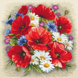 ZN 10634 Zestaw z nadrukiem i muliną - Letnia magia kwiatów
