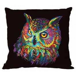 Wzór graficzny - Poduszka - Kolorowa sowa