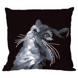 Zestaw z muliną i poszewką - Szary kot