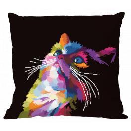 Zestaw z muliną i poszewką - Kolorowy kot
