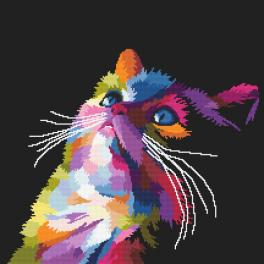 K 10637 Kanwa z nadrukiem - Kolorowy kot