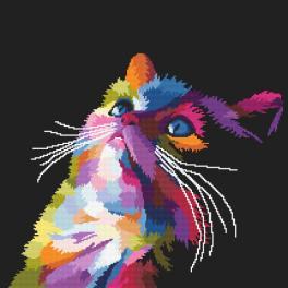 Zestaw z nadrukiem i muliną - Kolorowy kot