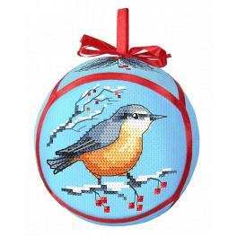 Zestaw do haftu z muliną - Bombka z ptaszkiem
