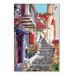 Zestaw do malowania po numerach - Hiszpańska uliczka w kwiatach