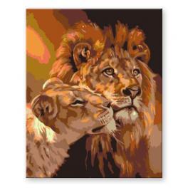 Zestaw do malowania po numerach - Lew z lwicą