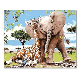 Zestaw do malowania po numerach - Żyrafa ze słoniątkiem
