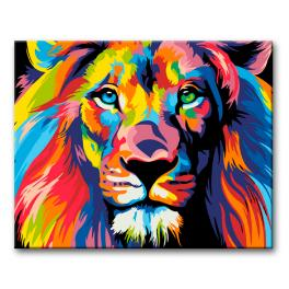 Zestaw do malowania po numerach - Kolorowy lew II