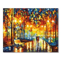 Zestaw do malowania po numerach - Wieczorny spacer w deszczu