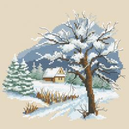 Zestaw do haftu z nadrukiem - Pory roku - Piękna zima