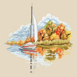 Zestaw do haftu z nadrukiem - Pory roku - Złota jesień
