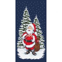 K 10642 Kanwa z nadrukiem - Zimowy Mikołaj