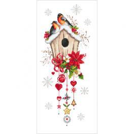K 10444 Kanwa z nadrukiem - Świąteczny domek