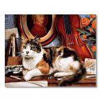 GX4137 Malowanie po numerach - Kot i skrzypce