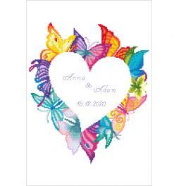 ZN 10650 Zestaw do haftu z nadrukiem - Serce w motylach