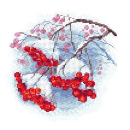 ZI 10307 Zestaw do haftu z muliną i koralikami - Zimowa jarzębina
