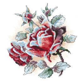 ZI 10305 Zestaw do haftu z muliną i koralikami - Oszronione róże