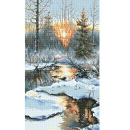 ZN 10304 Zestaw do haftu z nadrukiem - Zimowy zachód słońca
