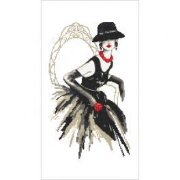 K 10426 Kanwa z nadrukiem - Czarna dama z różą