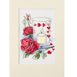 ZU 10302 Zestaw do haftu - Kartka walentynkowa ze świecą